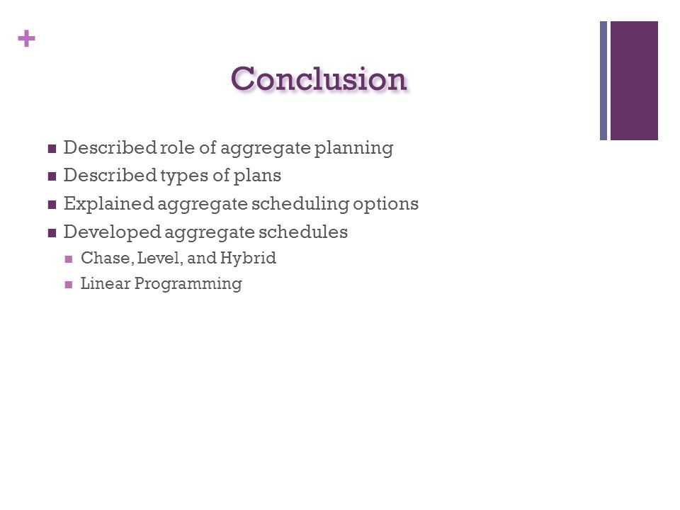 Conclusion Described role of aggregate planning