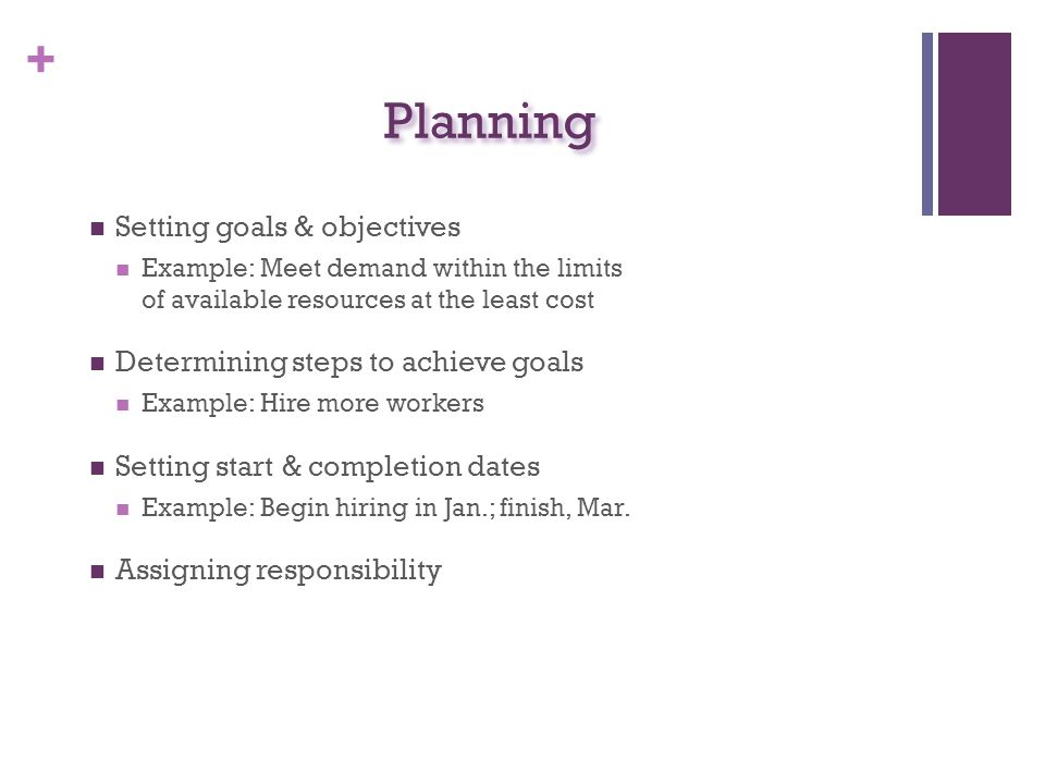 Planning Setting goals & objectives Determining steps to achieve goals