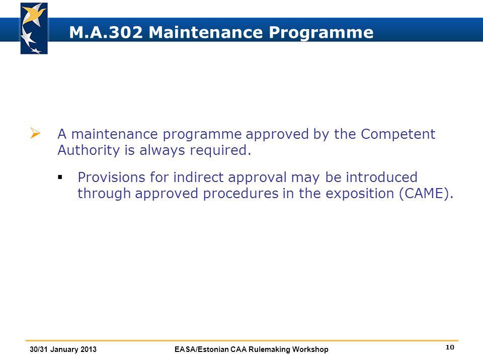 M.A.302 Maintenance Programme