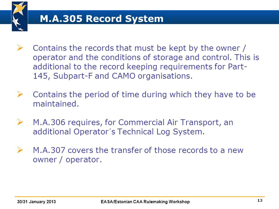 M.A.305 Record System