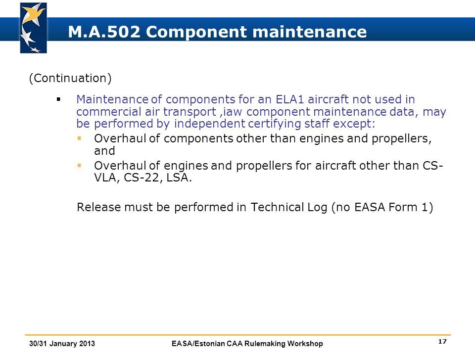 M.A.502 Component maintenance