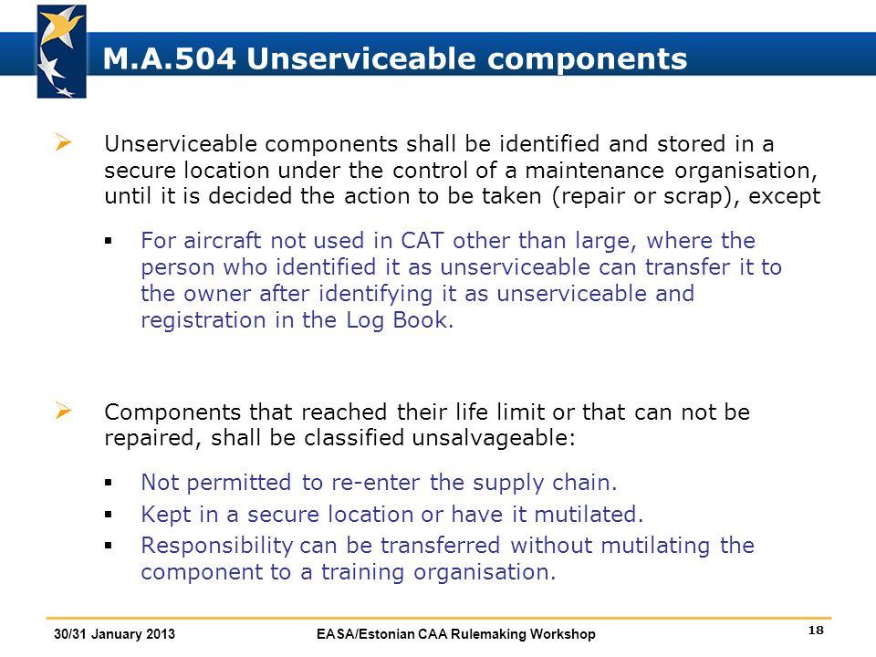 M.A.504 Unserviceable components