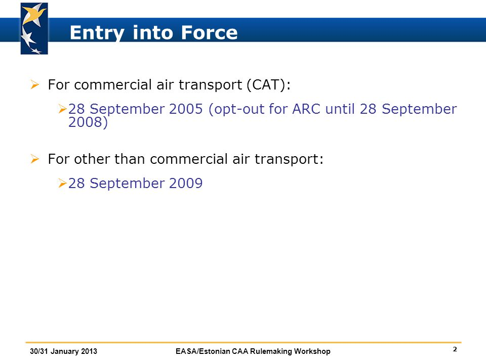 Entry into Force For commercial air transport (CAT):