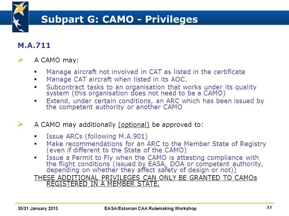 Subpart G: CAMO - Privileges
