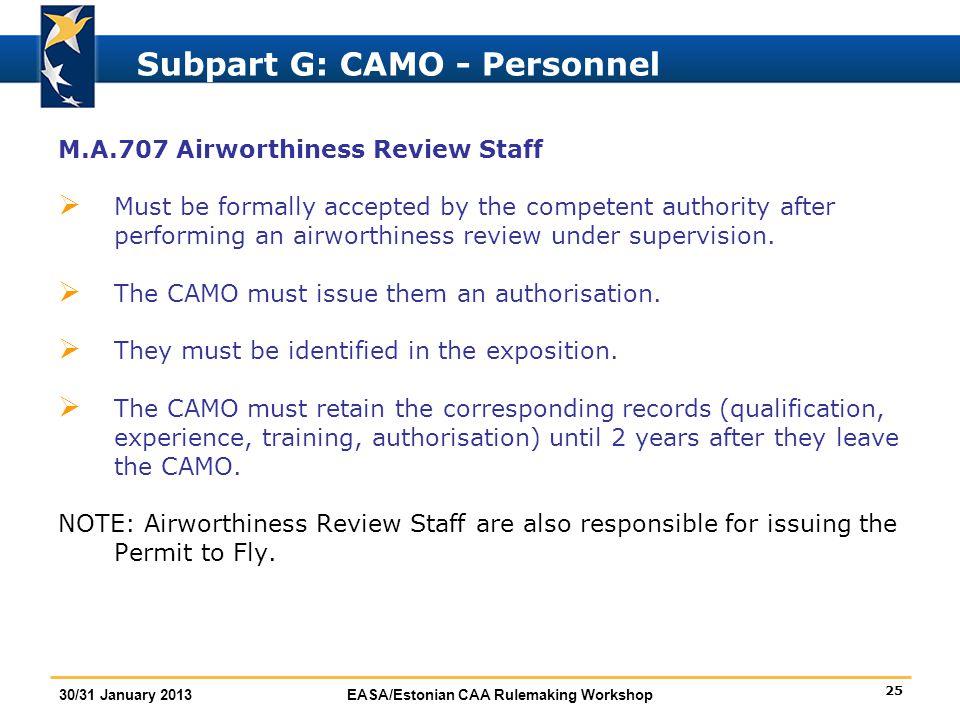 Subpart G: CAMO - Personnel