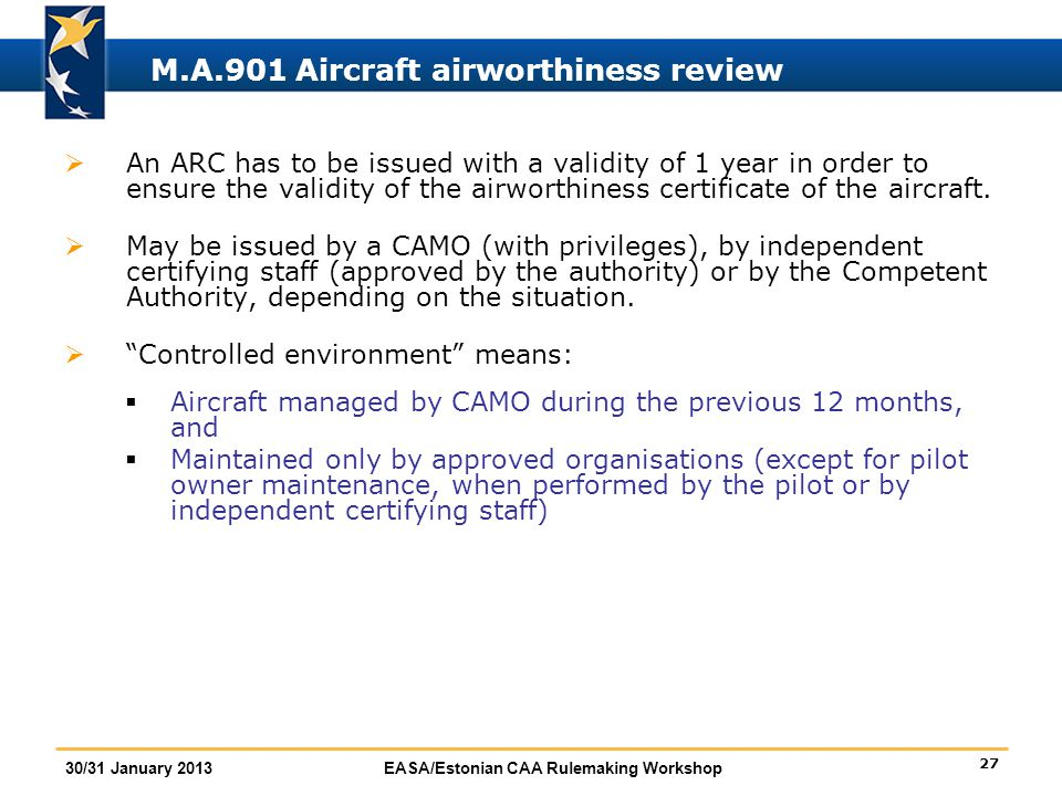 M.A.901 Aircraft airworthiness review