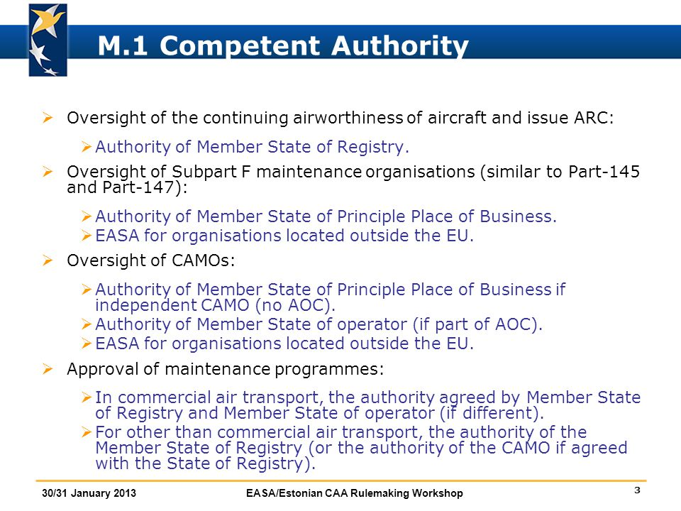 M.1 Competent Authority Oversight of the continuing airworthiness of aircraft and issue ARC: Authority of Member State of Registry.