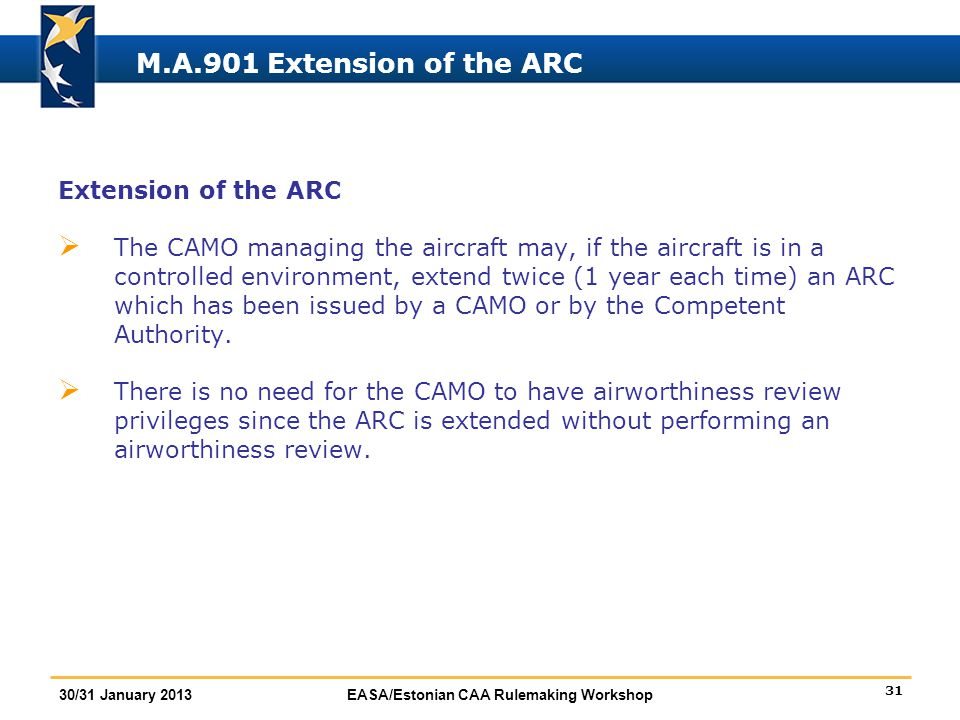 M.A.901 Extension of the ARC Extension of the ARC