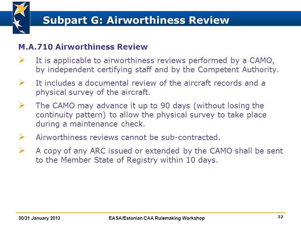 Subpart G: Airworthiness Review