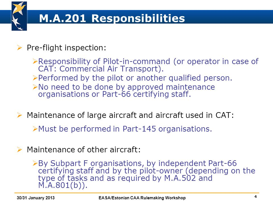 M.A.201 Responsibilities Pre-flight inspection: