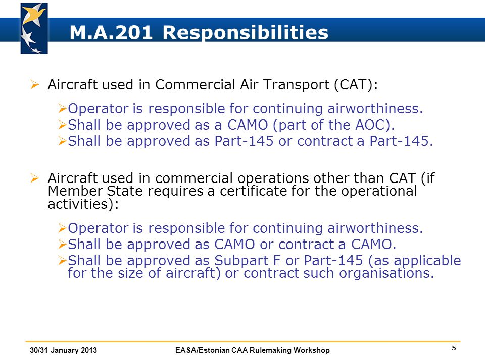 M.A.201 Responsibilities Aircraft used in Commercial Air Transport (CAT): Operator is responsible for continuing airworthiness.