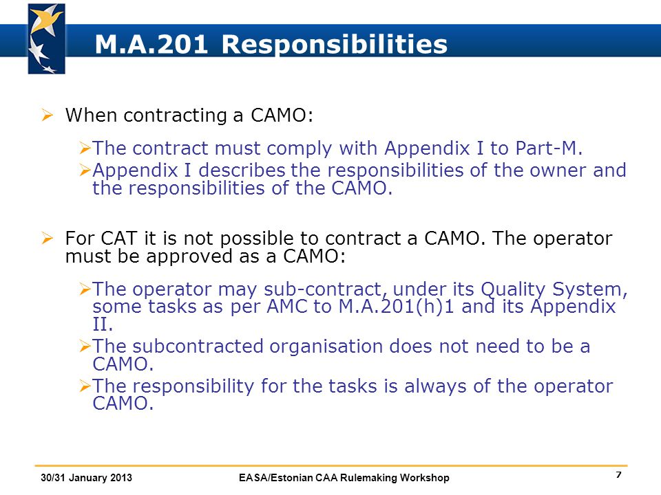 M.A.201 Responsibilities When contracting a CAMO: