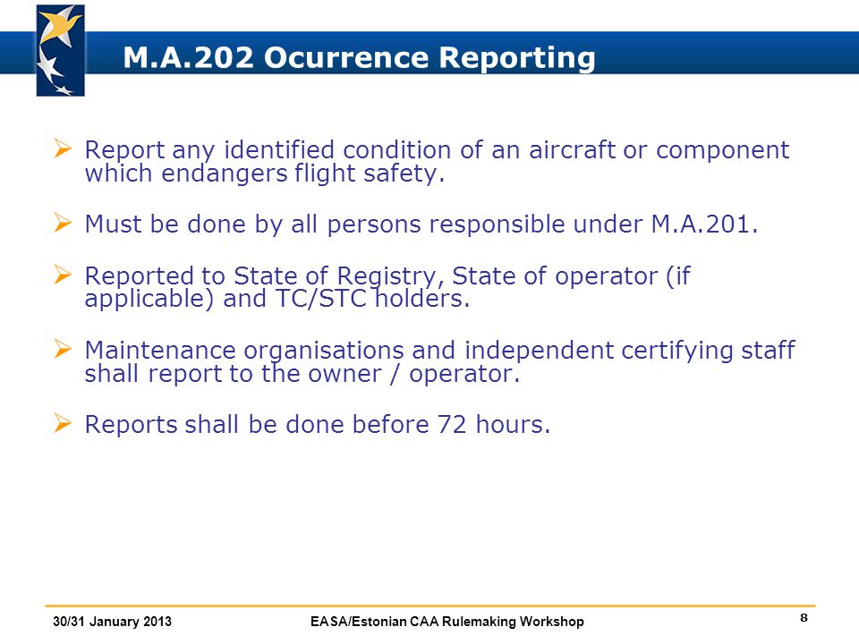 M.A.202 Ocurrence Reporting
