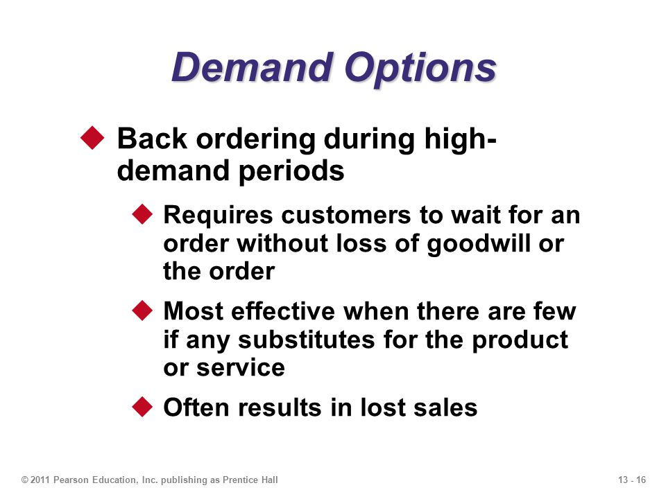 Demand Options Back ordering during high- demand periods