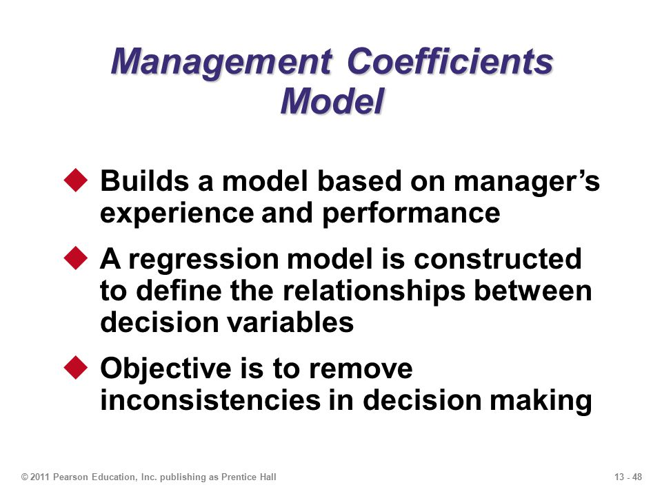 Management Coefficients Model