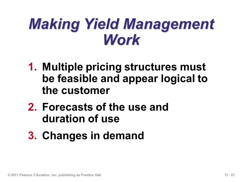 Making Yield Management Work
