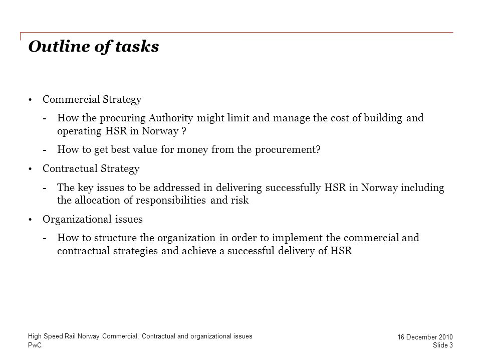 Outline of tasks Commercial Strategy