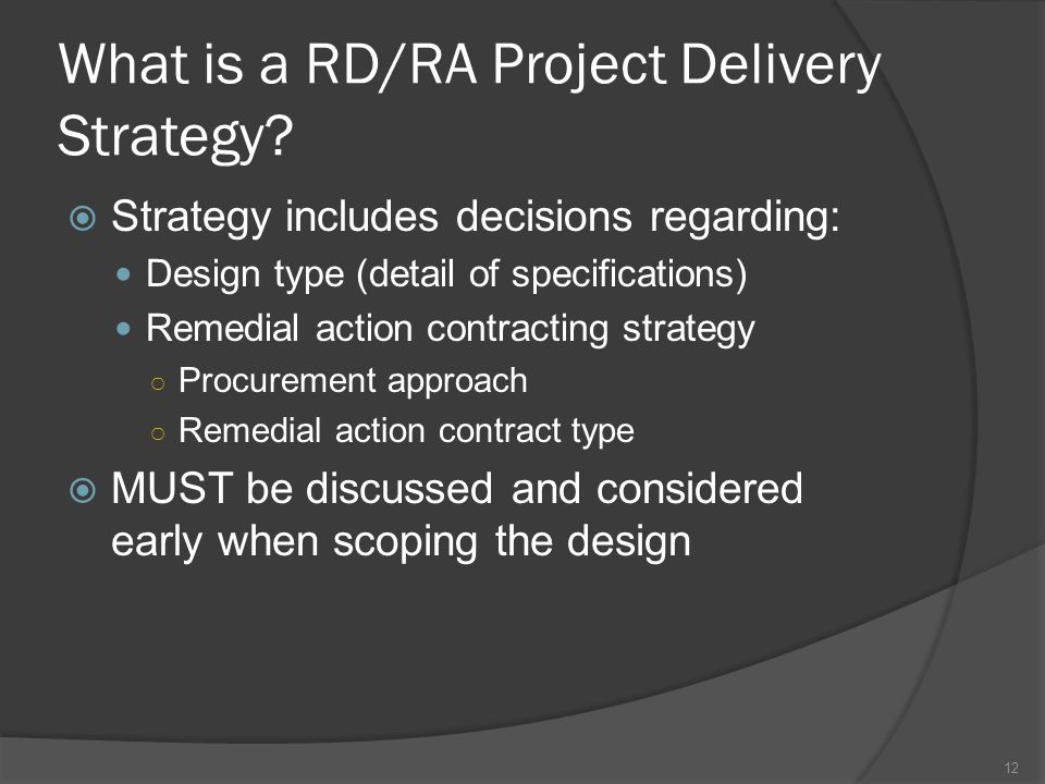 What is a RD/RA Project Delivery Strategy