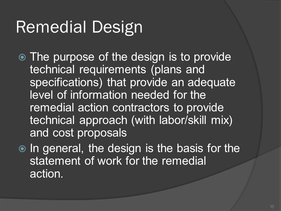 Remedial Design