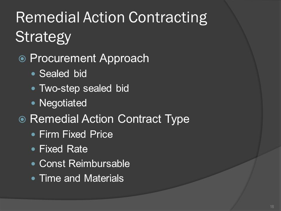 Remedial Action Contracting Strategy