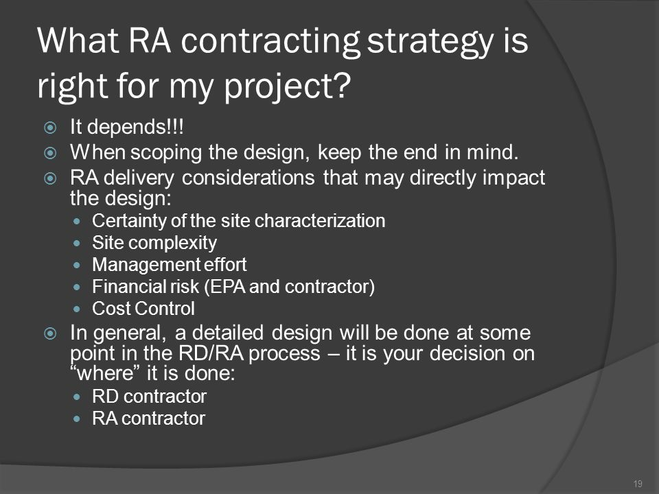 What RA contracting strategy is right for my project