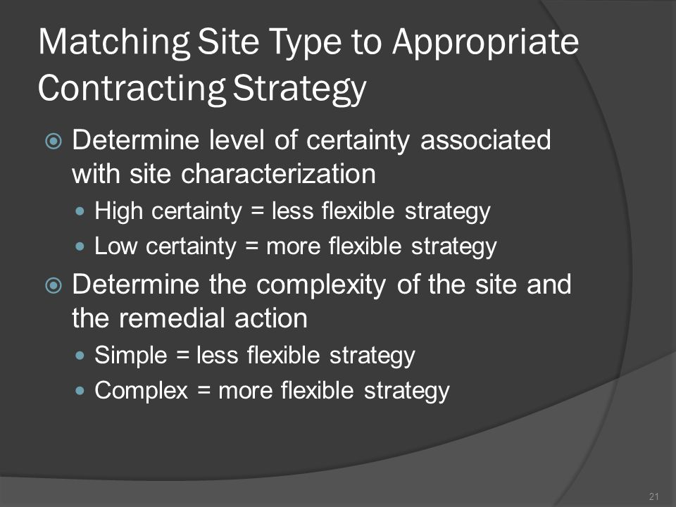 Matching Site Type to Appropriate Contracting Strategy