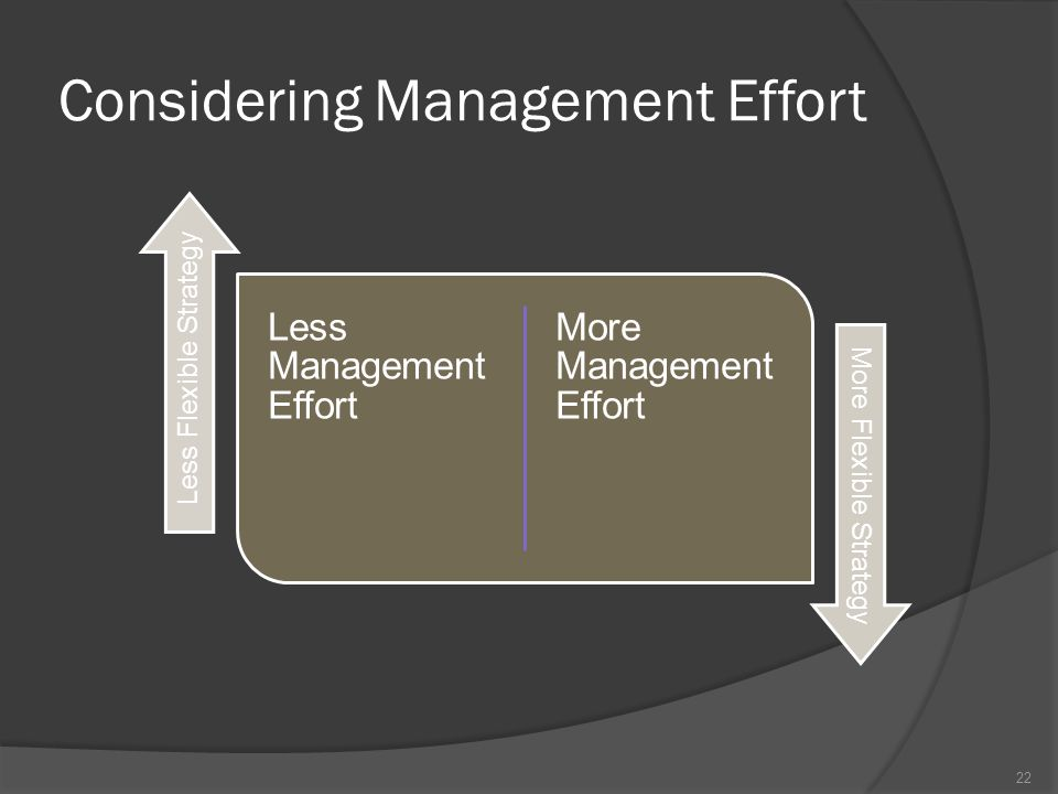 Considering Management Effort