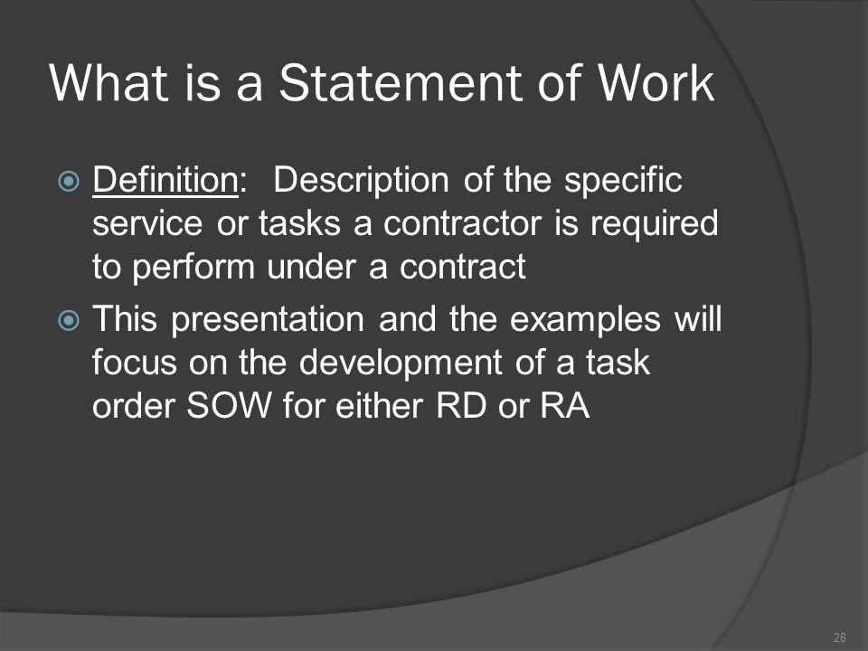 What is a Statement of Work