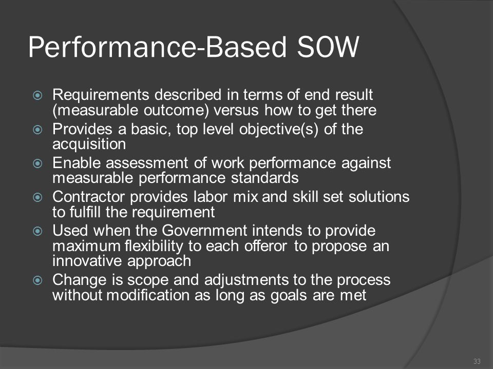 Performance-Based SOW