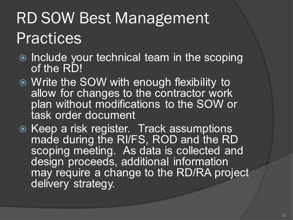 RD SOW Best Management Practices