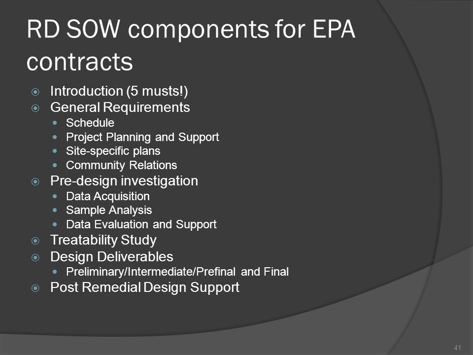 RD SOW components for EPA contracts