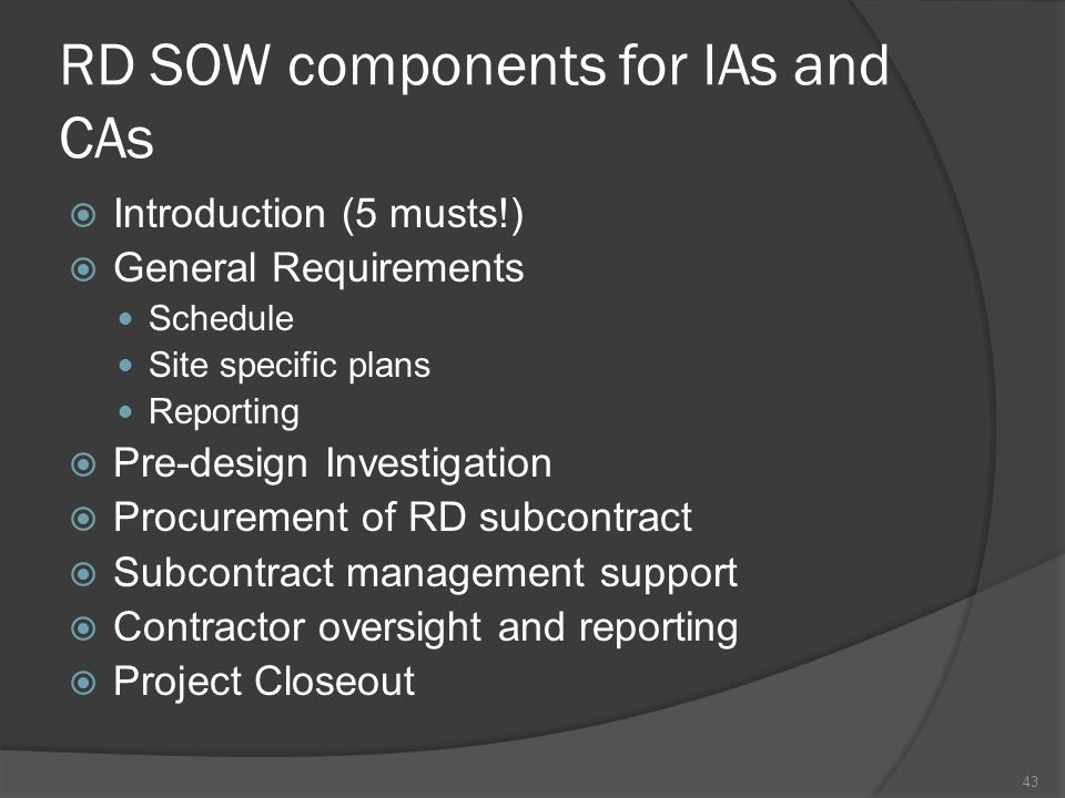 RD SOW components for IAs and CAs