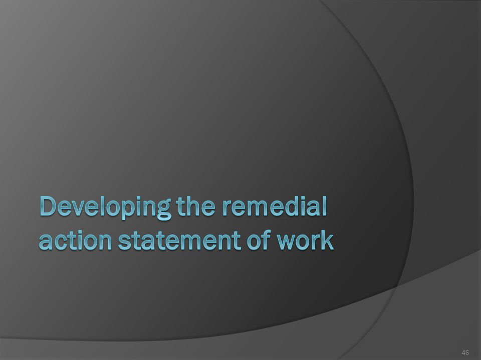 Developing the remedial action statement of work