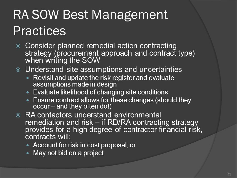 RA SOW Best Management Practices