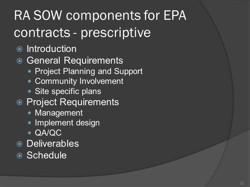 RA SOW components for EPA contracts - prescriptive