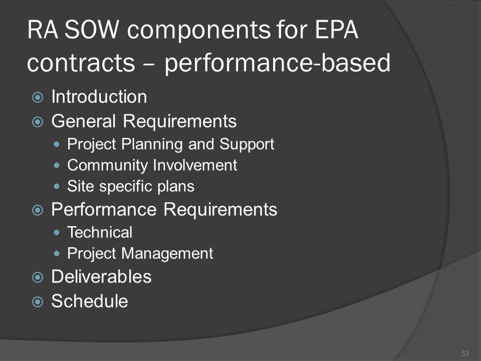 RA SOW components for EPA contracts – performance-based