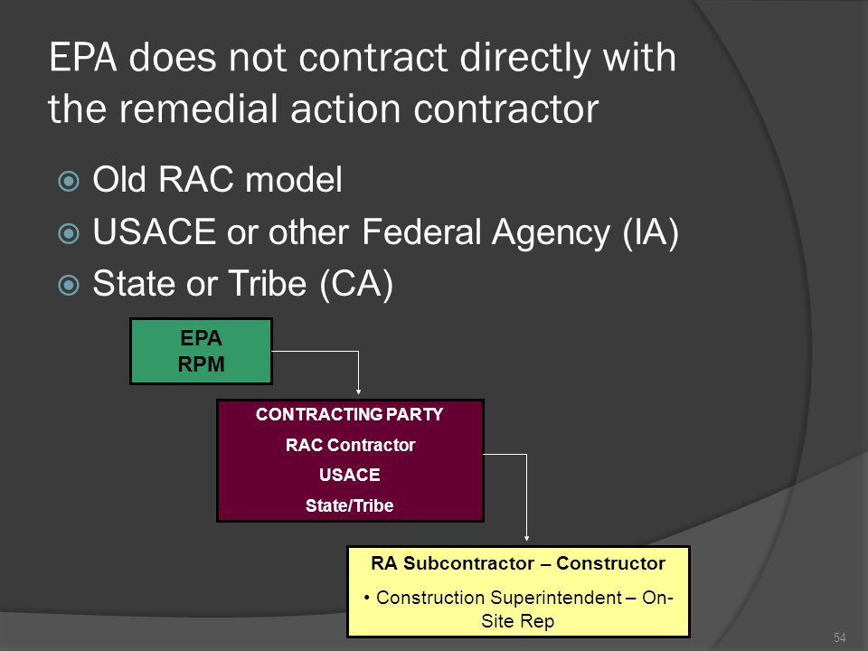 EPA does not contract directly with the remedial action contractor