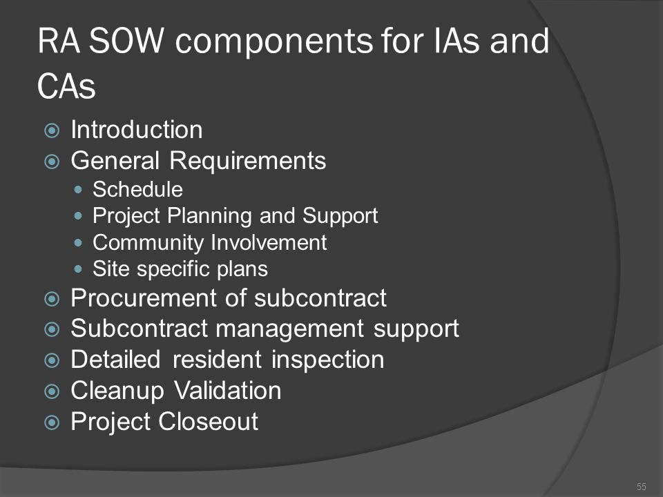 RA SOW components for IAs and CAs