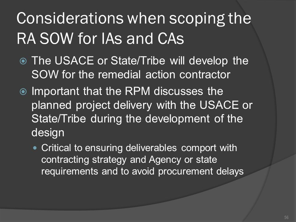 Considerations when scoping the RA SOW for IAs and CAs