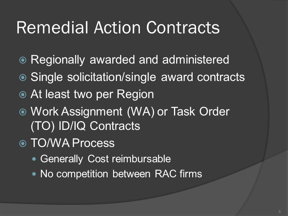 Remedial Action Contracts