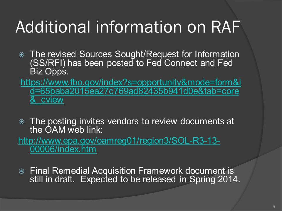 Additional information on RAF