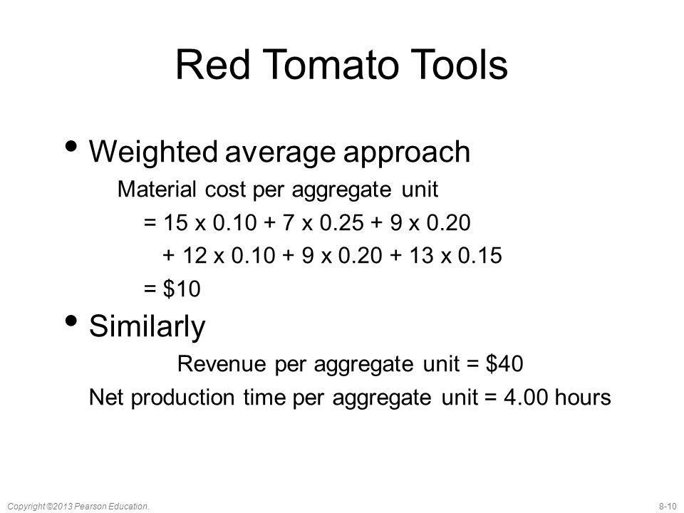 Red Tomato Tools Weighted average approach Similarly