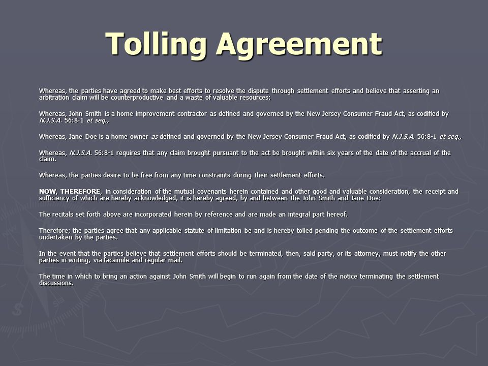 Managing Claims And Disputes Ppt Download Sample Tolling Agreement