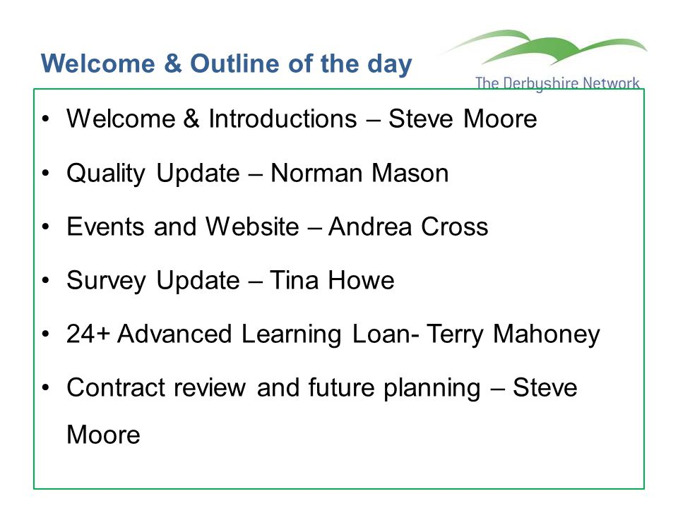 Welcome & Outline of the day