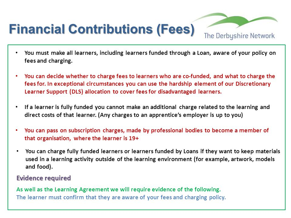 Financial Contributions (Fees)