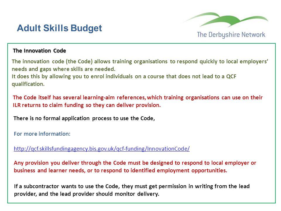 Adult Skills Budget The Innovation Code