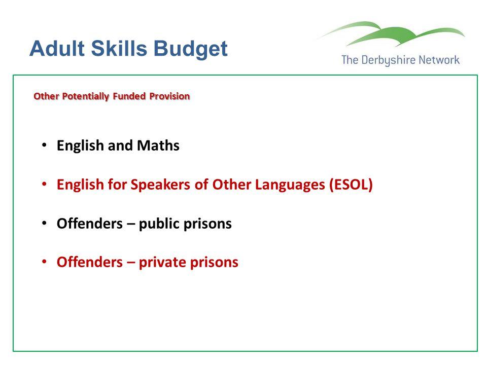 Adult Skills Budget English and Maths