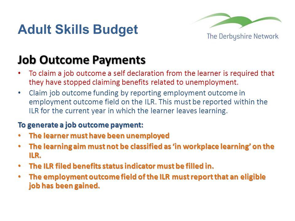 Adult Skills Budget Job Outcome Payments