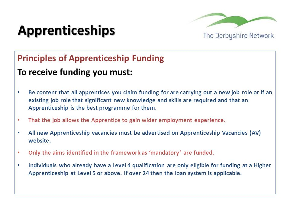 Apprenticeships Principles of Apprenticeship Funding