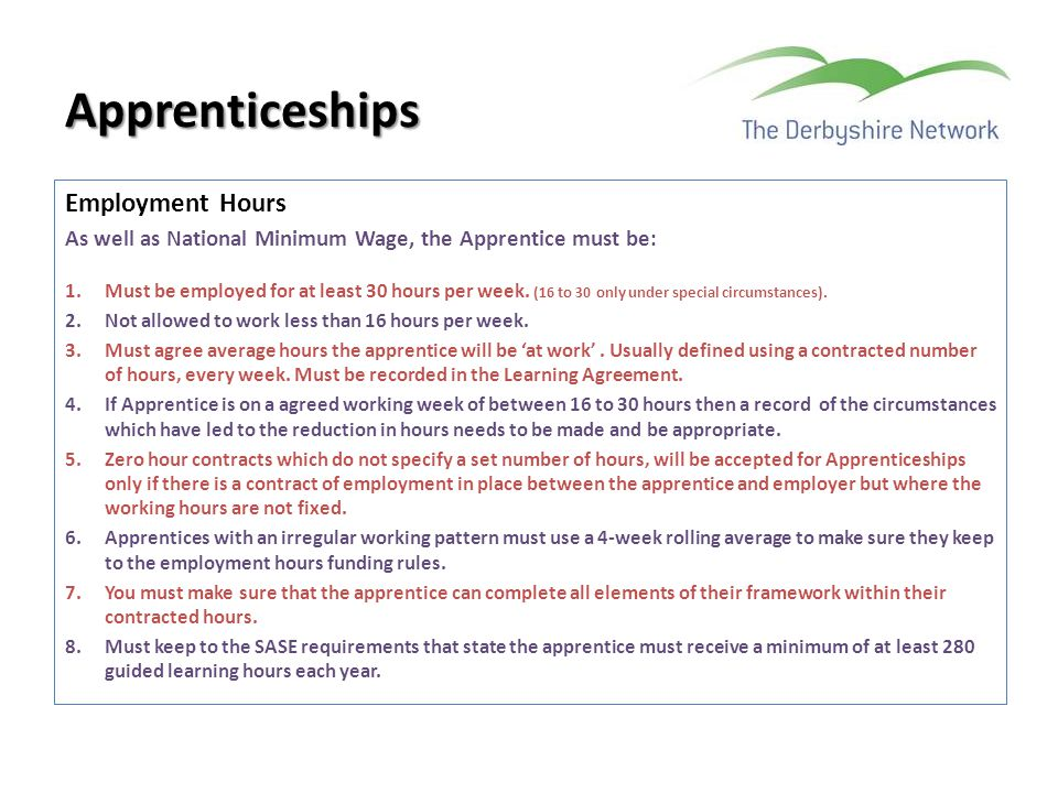 Apprenticeships Employment Hours